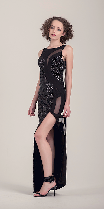 Paris Floor Length Sequin Black Dress